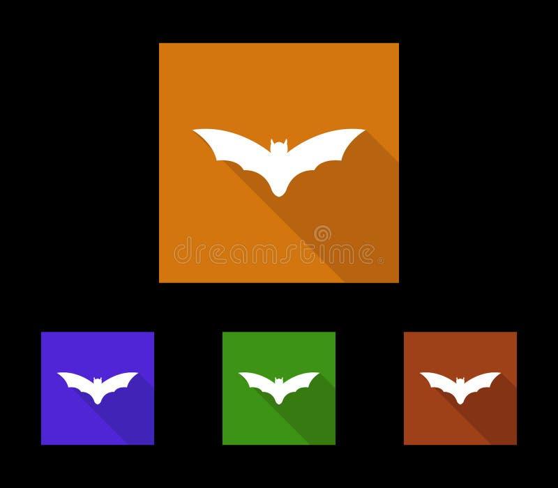 Ensemble d'icônes pour la batte de Halloween illustrée illustration libre de droits