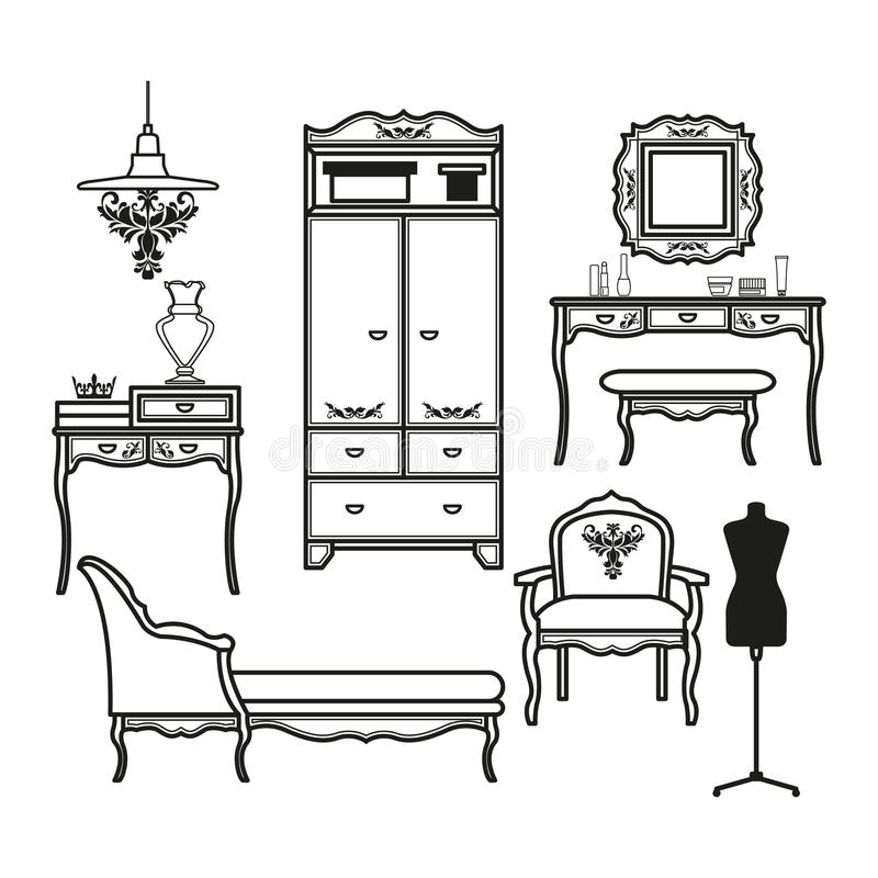 Ensemble d'icônes pour le boudoir illustration de vecteur