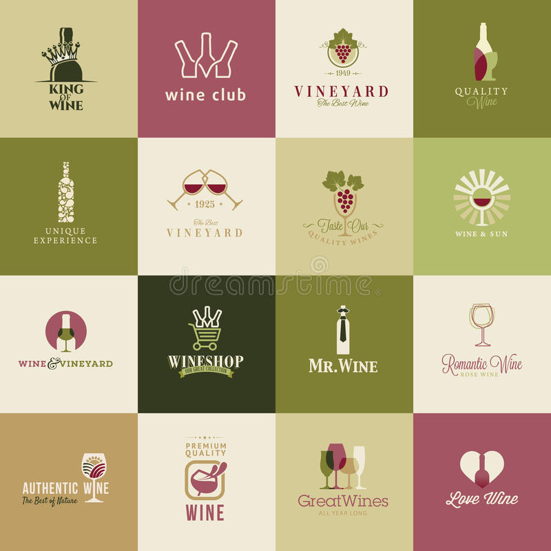 Ensemble d'icônes pour le vin illustration de vecteur