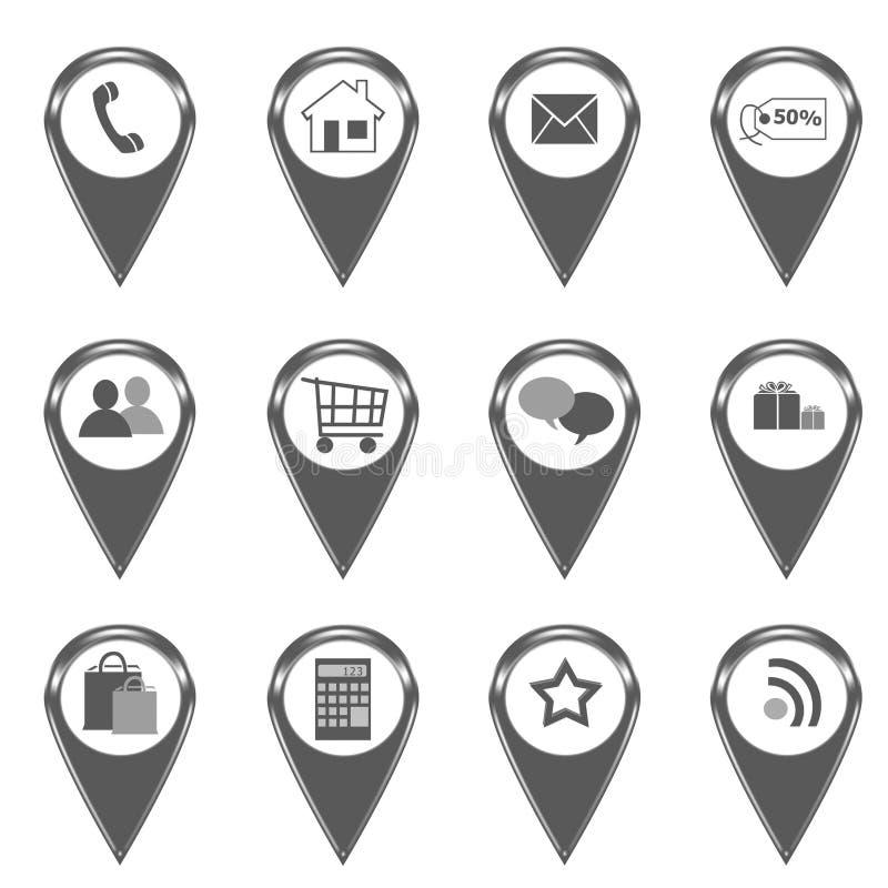 Ensemble d'icônes pour le Web ou de marqueurs sur des cartes illustration stock