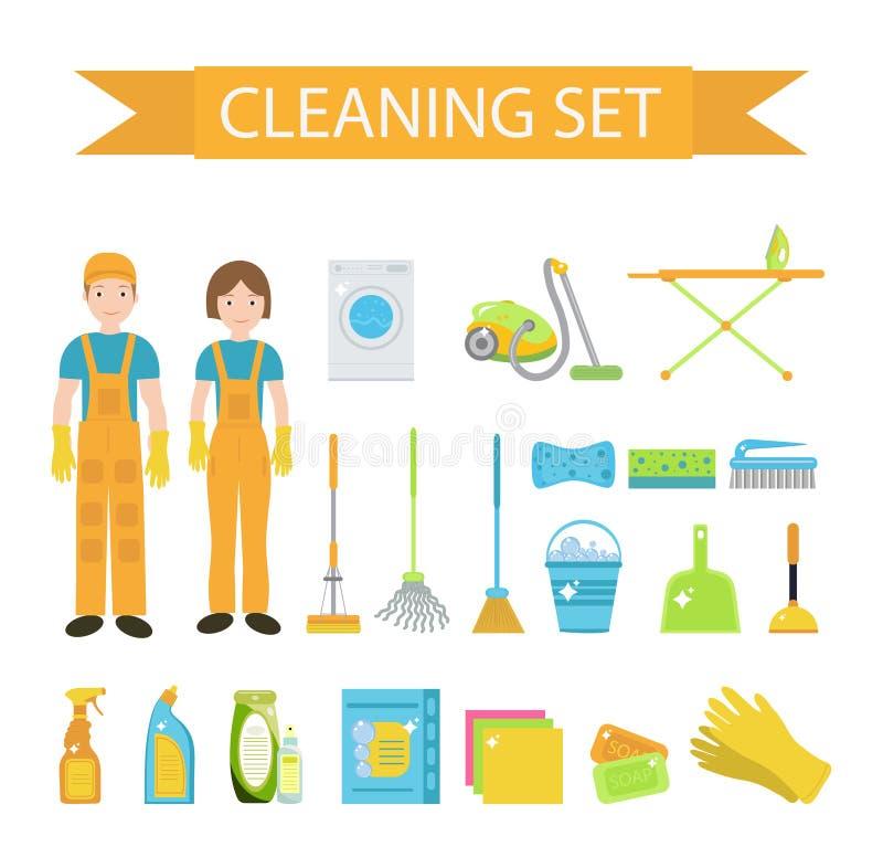 Ensemble d'icônes pour les outils de nettoyage Personnel de nettoyage de Chambre Style plat de conception Éléments de nettoyage d illustration de vecteur