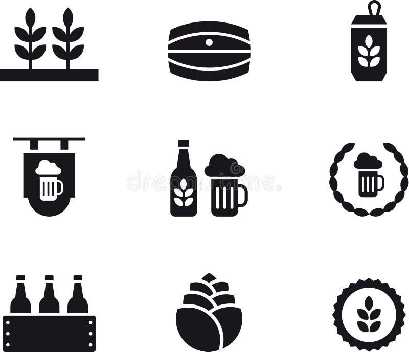 Ensemble d'icônes relatives de bière illustration stock