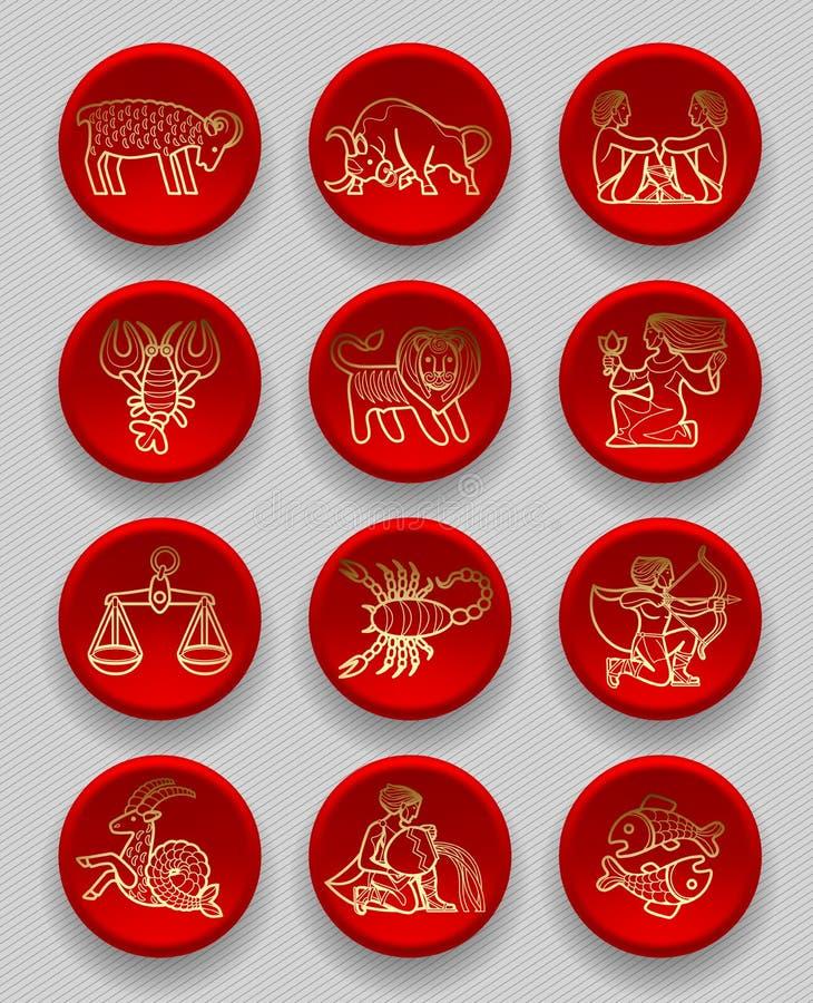 Ensemble d'icônes rondes rouges avec les signes zodiacaux linéaires d'or illustration libre de droits