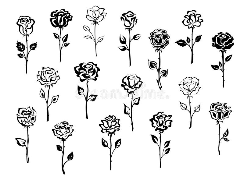 Ensemble d'icônes roses illustration de vecteur