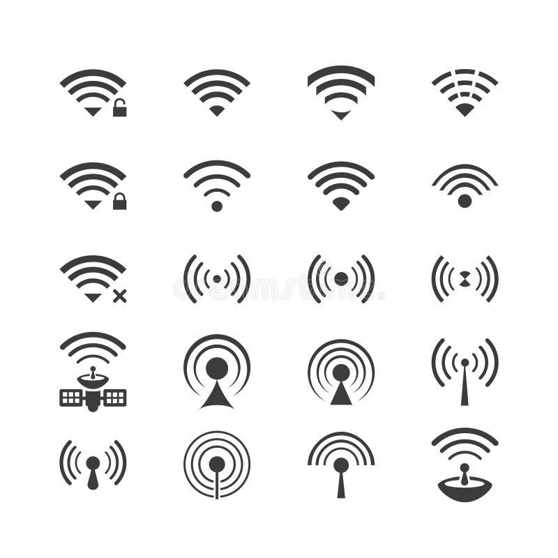 Ensemble d'icônes sans fil de vecteur pour l'accès et la communication par radio à télécommande de wifi illustration stock