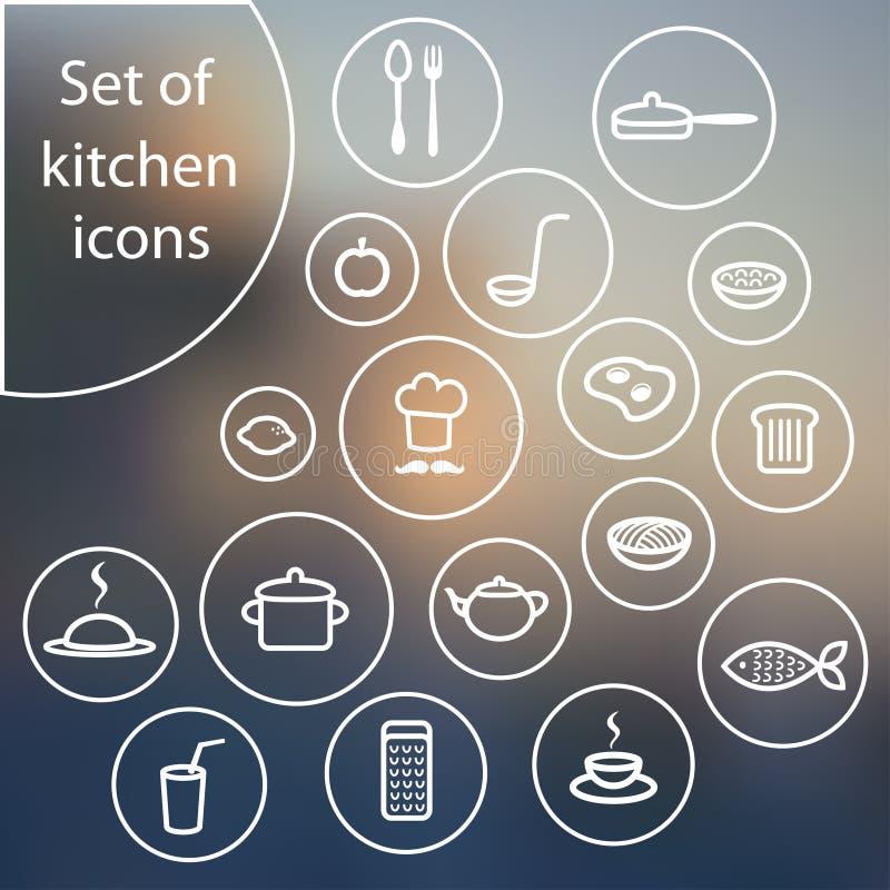 Ensemble d'icônes simples élégantes de cuisine illustration libre de droits