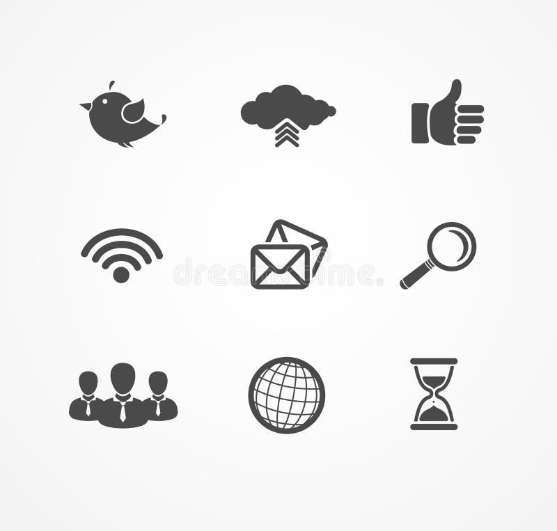 Ensemble d'icônes sociales de réseau en silhouette noire illustration libre de droits