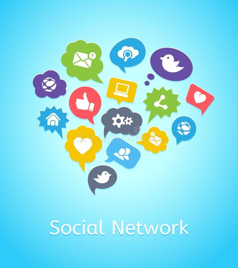 Ensemble d'icônes sociales de réseau sur des nuages illustration de vecteur