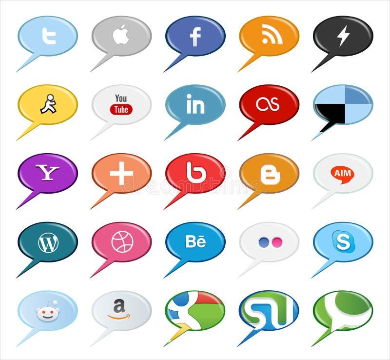 Boutons et icônes sociaux de médias de bulle de la parole illustration stock
