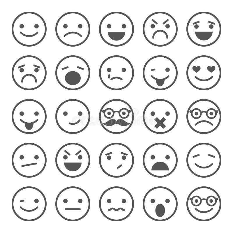 Ensemble d'icônes souriantes : différentes émotions illustration stock