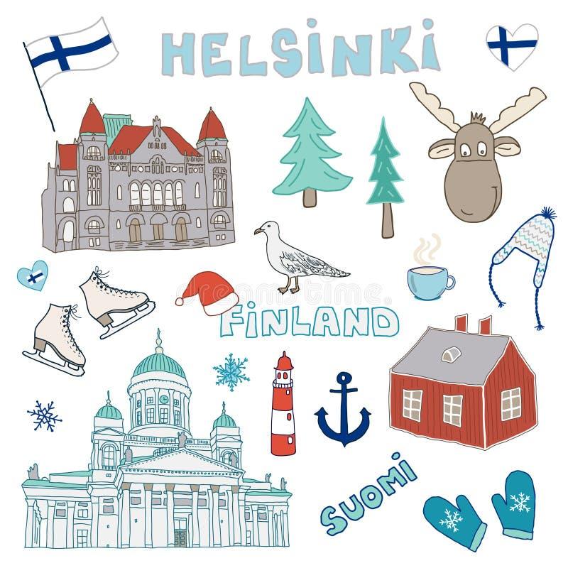 Ensemble d'icônes tirées par la main de griffonnage de Helsinki, Finlande illustration libre de droits