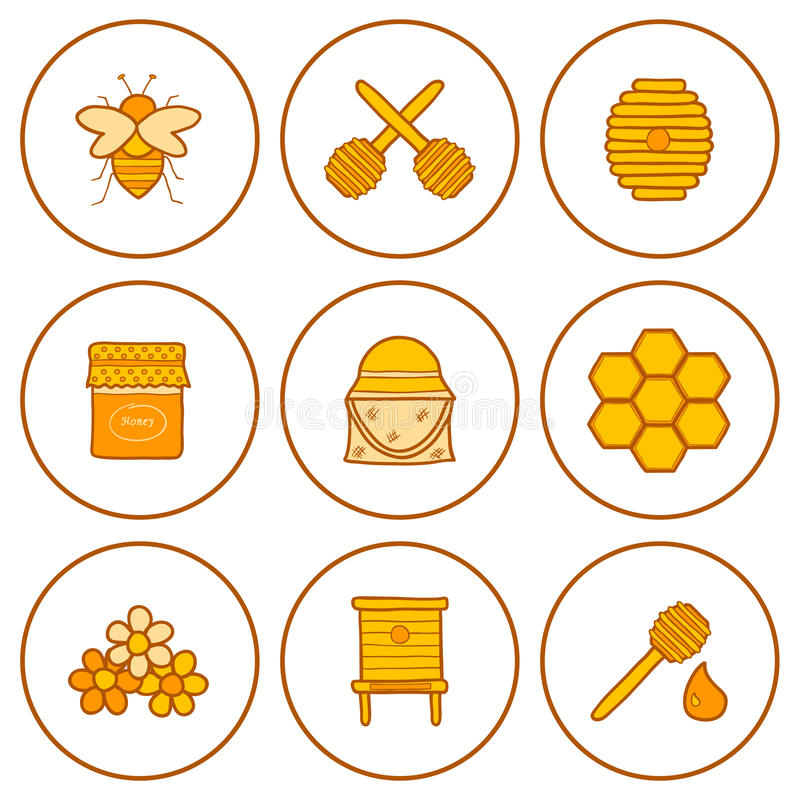 Ensemble d'icônes tirées par la main sur le thème de l'apiculture illustration stock