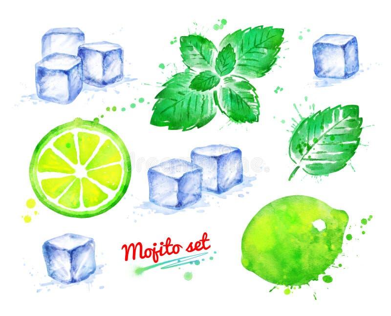 Ensemble d'illustration d'aquarelle d'ingrédients de Mojito illustration de vecteur