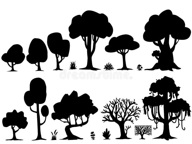Ensemble d'illustration d'arbres de silhouette images stock