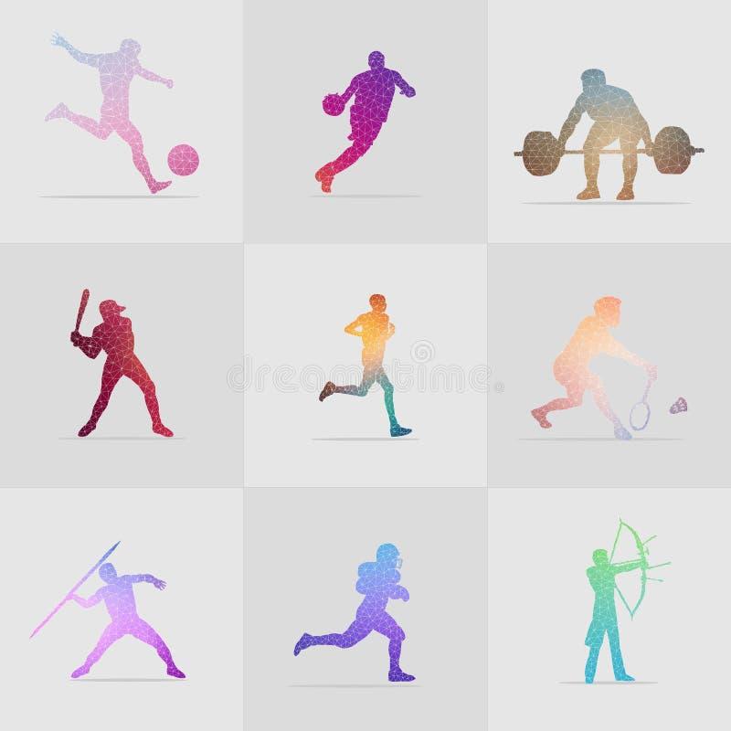 Ensemble d'illustration colorée de sport de polygone illustration libre de droits
