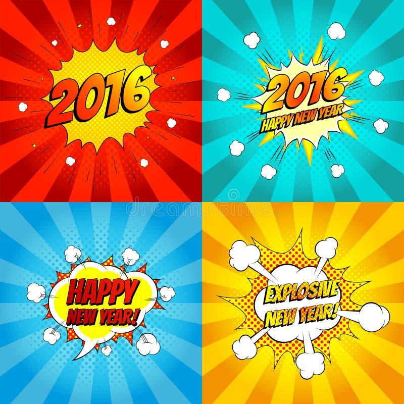 Ensemble d'illustration comique de vecteur de bonne année d'art de bruit illustration libre de droits