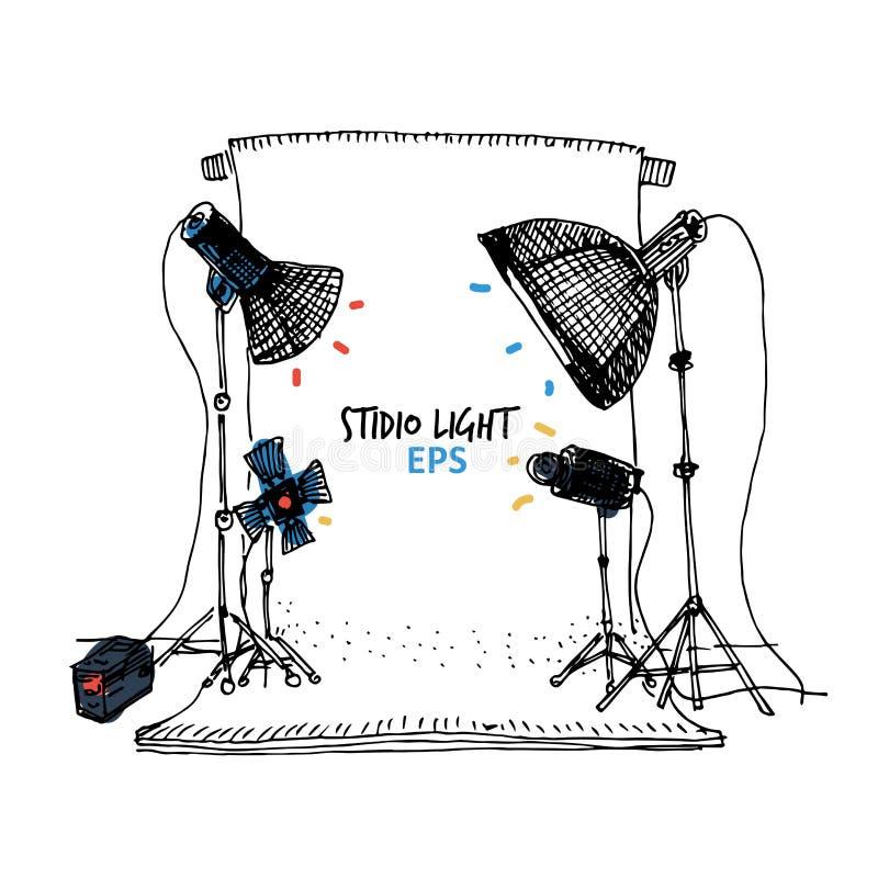 Ensemble d'illustration d'équipement de studio de photo illustration stock
