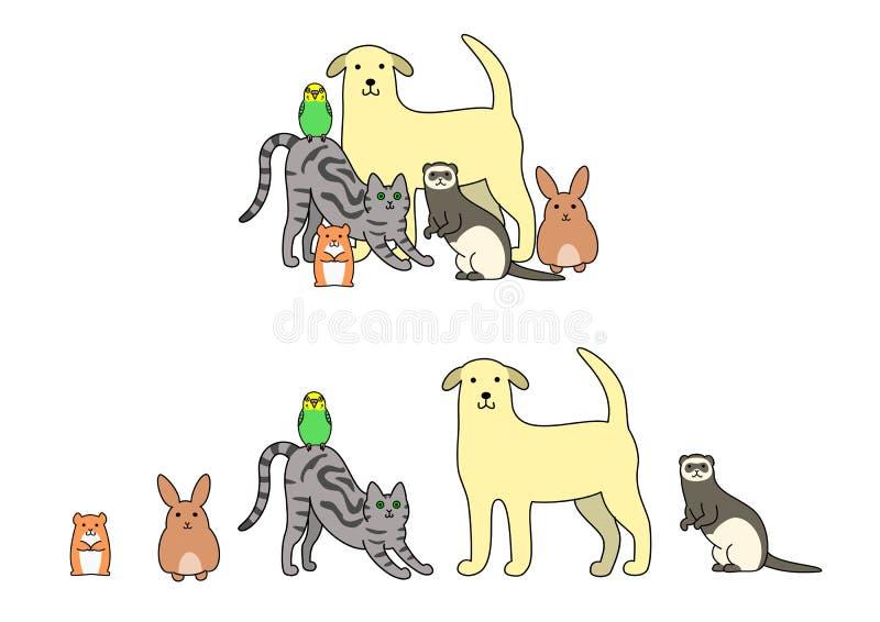 Ensemble d'illustration d'animaux familiers illustration libre de droits