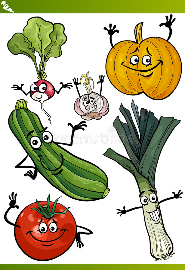 Ensemble d'illustration de bande dessinée de légumes illustration stock