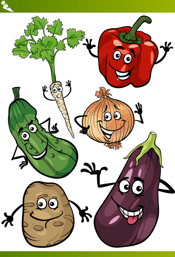 Ensemble d'illustration de bande dessinée de légumes illustration libre de droits