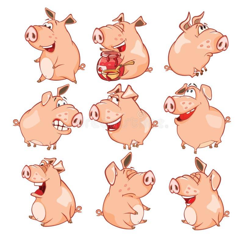 Ensemble d'illustration de bande dessinée Les porcs mignons dans différentes poses pour vous conçoivent le chef heureux de crabot illustration de vecteur