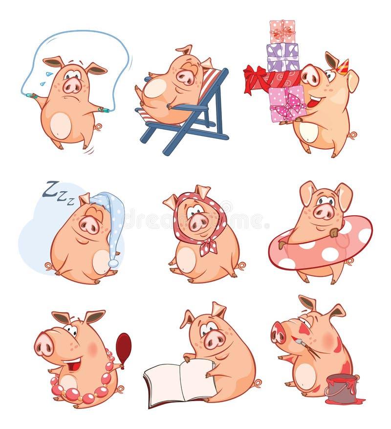 Ensemble d'illustration de bande dessinée Les porcs mignons dans différentes poses pour vous conçoivent le chef heureux de crabot illustration libre de droits