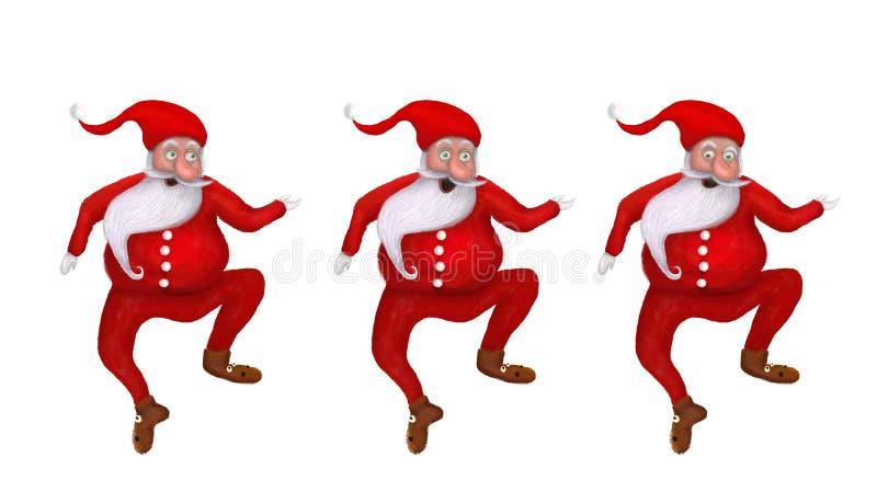 Ensemble d'illustration de bande dessinée trois de Noël drôle Santa Clauses photo stock