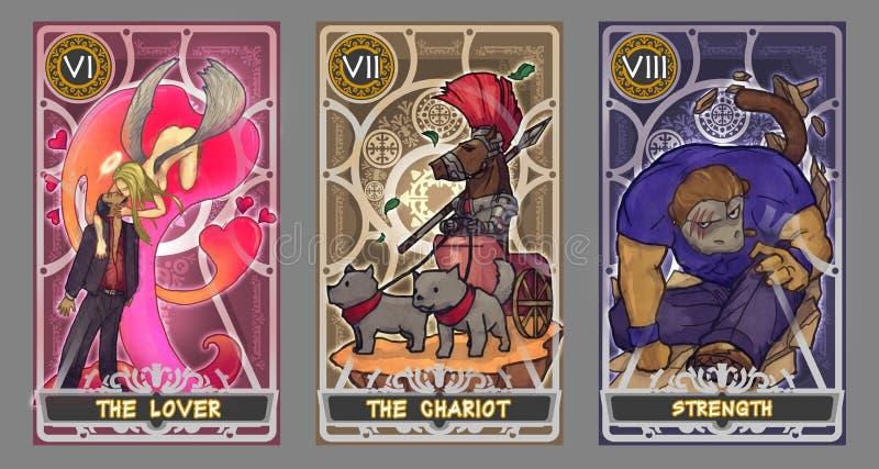 Ensemble d'illustration de carte de tarot illustration de vecteur