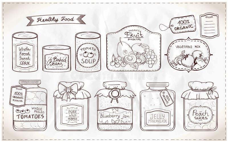 Ensemble d'illustration de conserves et d'étiquettes illustration libre de droits