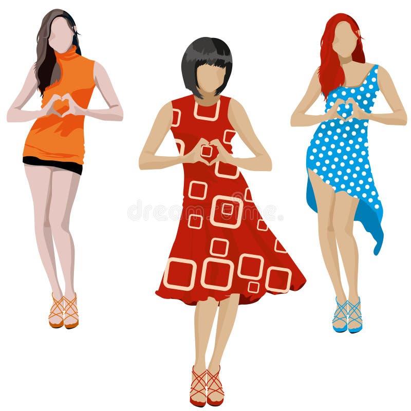 Ensemble d'illustration de filles de mode illustration libre de droits