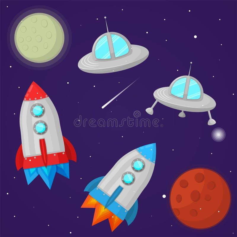 Ensemble d'illustration de l'espace de bande dessinée UFO, planète, fusée photos libres de droits