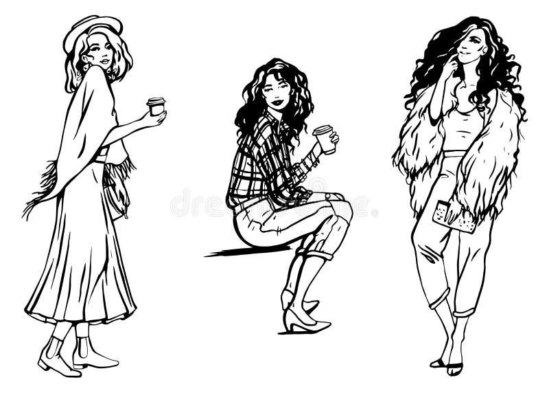 Ensemble d'illustration de mode de vecteur de trois filles élégantes dans linéaire noir et blanc de styl d'affaires sur le fond b illustration de vecteur