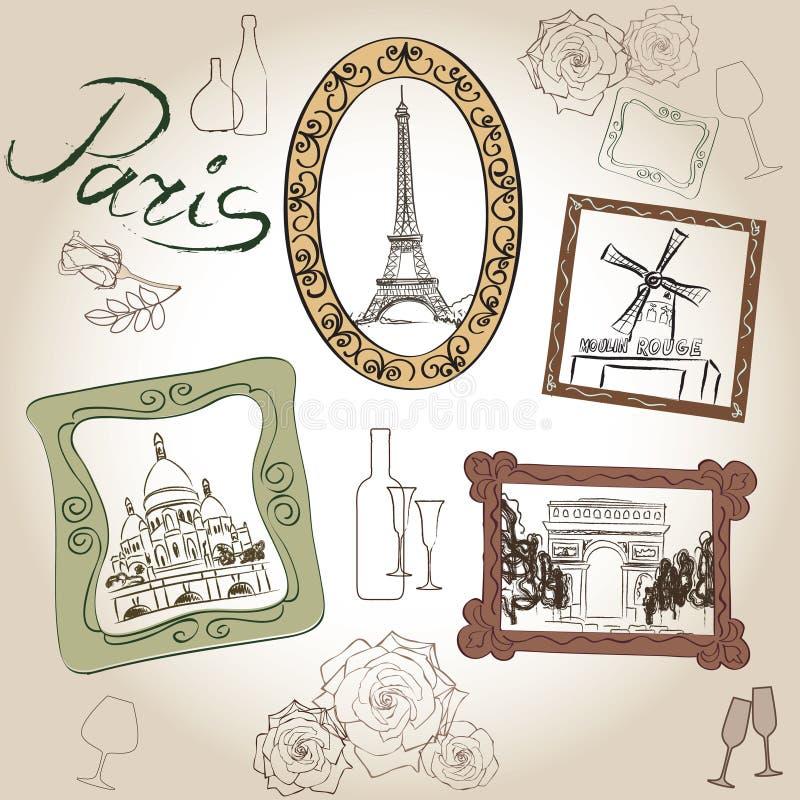 Ensemble d'illustration de Paris. Collection de vintage de cadre de Paris d'amour. Café français illustration de vecteur