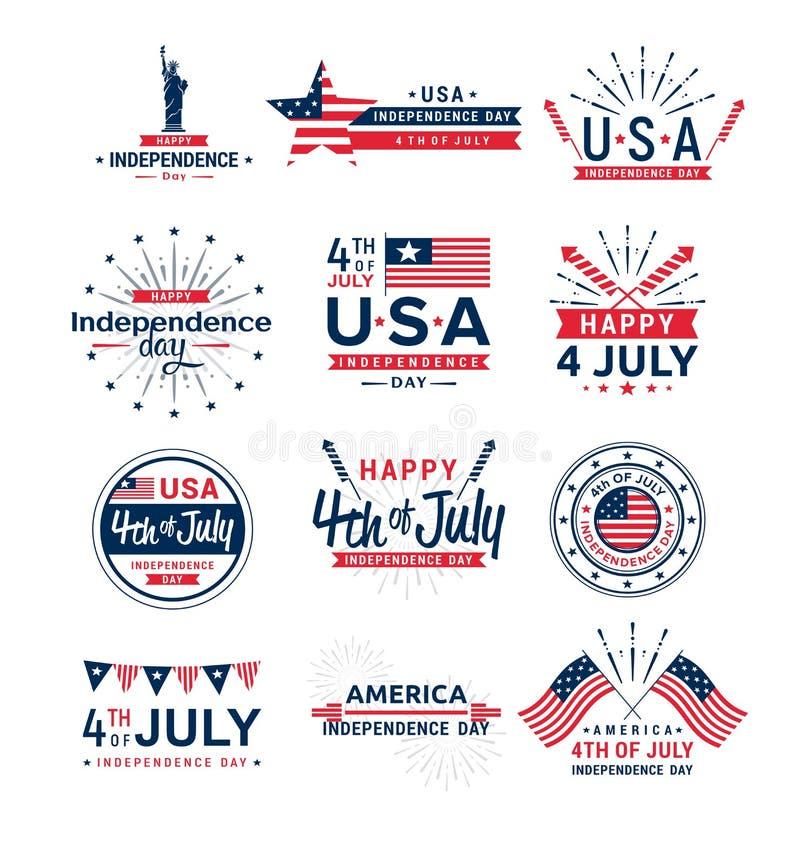 Ensemble d'illustration de vecteur de 4ème des logos de salutation de juillet, salutation indiquée unie de Jour de la Déclaration illustration libre de droits
