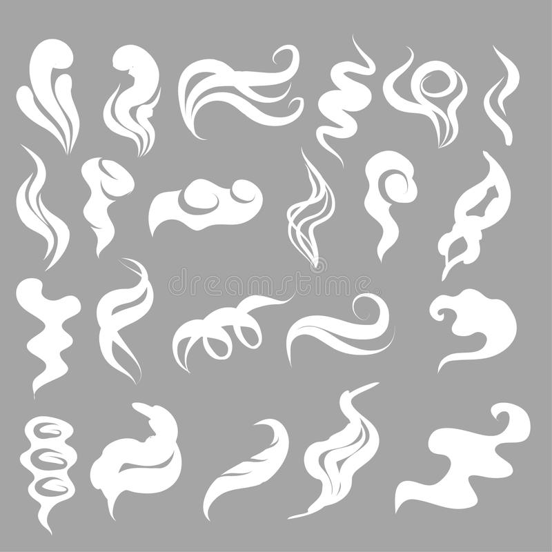 Ensemble d'illustration de vecteur de bande dessinée de fumée, de nuages, de brouillard et de vapeur illustration libre de droits