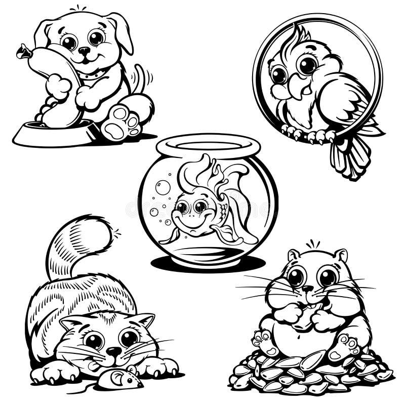 Ensemble d'illustration de vecteur d'animaux familiers illustration de vecteur