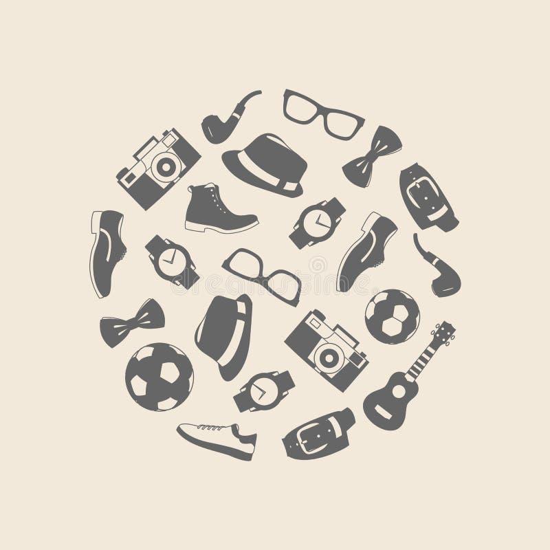 Ensemble d'illustration de vecteur d'habillement d'accessoires de mode et d'hommes de style illustration de vecteur