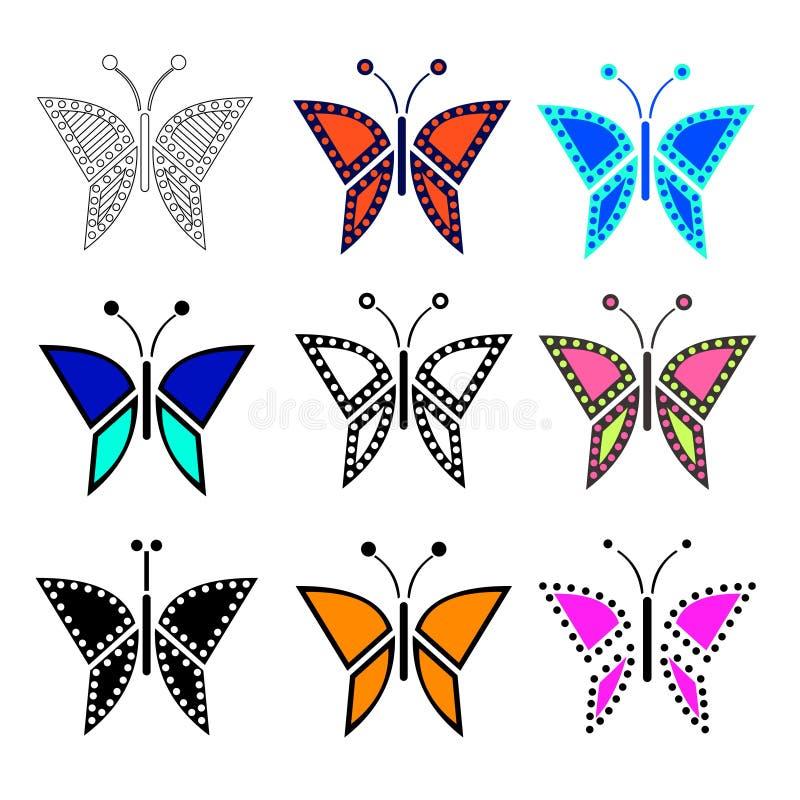 Download Ensemble D'illustration De Vecteur D'insecte, Papillons Colorés Illustration de Vecteur - Illustration du vert, isolement: 77162601