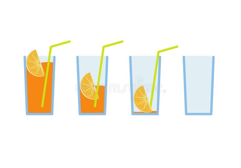 Ensemble d'illustration de vecteur de coctail de jus d'orange illustration libre de droits