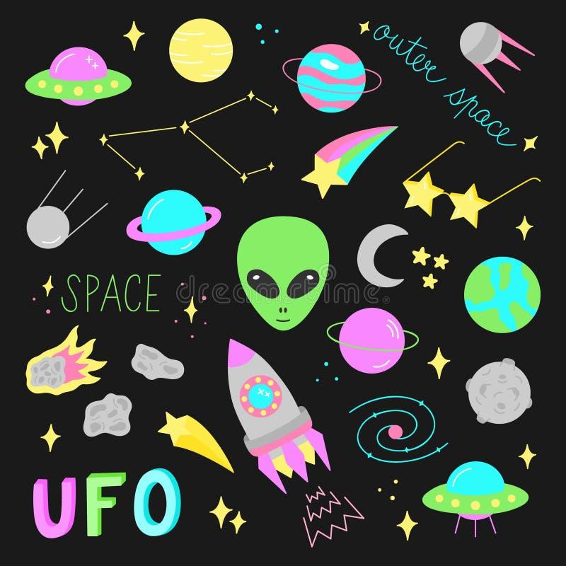 Ensemble d'illustration de vecteur d'espace extra-atmosphérique illustration de vecteur