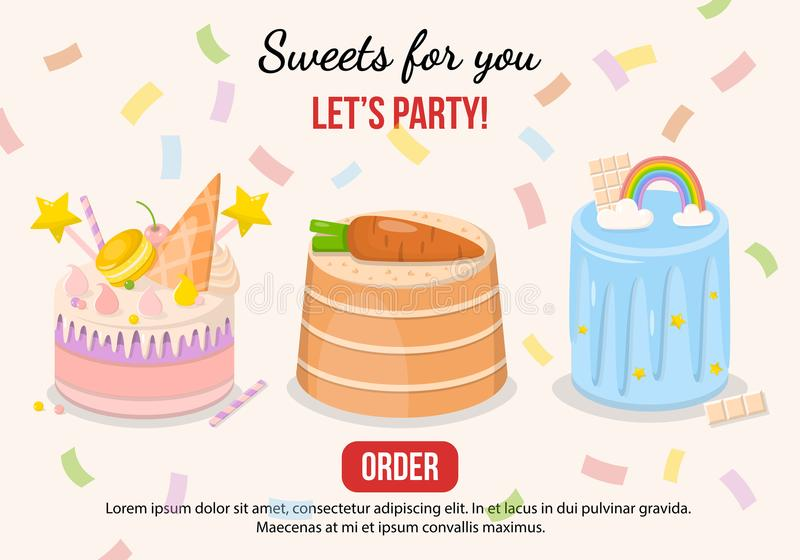Ensemble d'illustration de vecteur de gâteaux de fantaisie image stock