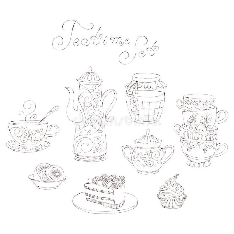 Ensemble d'illustration de vecteur heure du thé illustration de vecteur