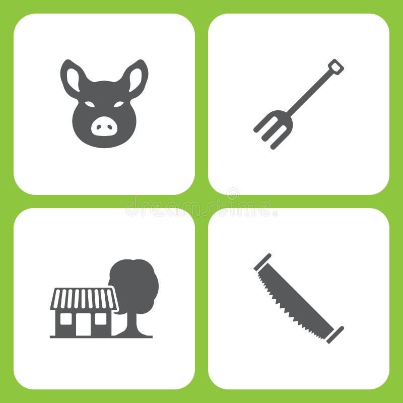 Ensemble d'illustration de vecteur d'icônes simples de ferme et de jardin Tête de porc d'éléments, outils de jardin, maison de fe illustration stock