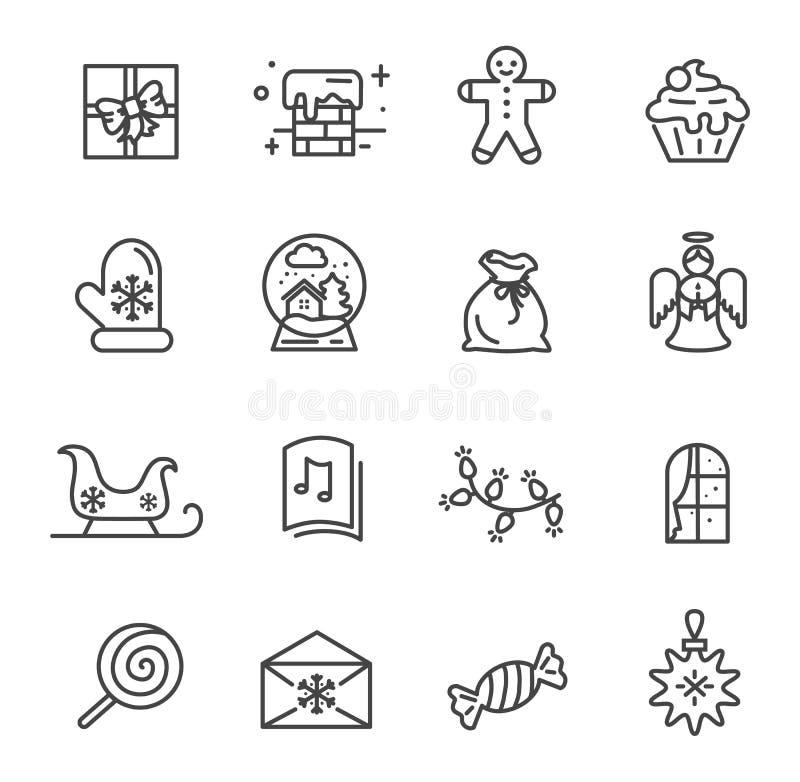 Ensemble d'illustration de vecteur d'icônes de thème de Noël illustration de vecteur