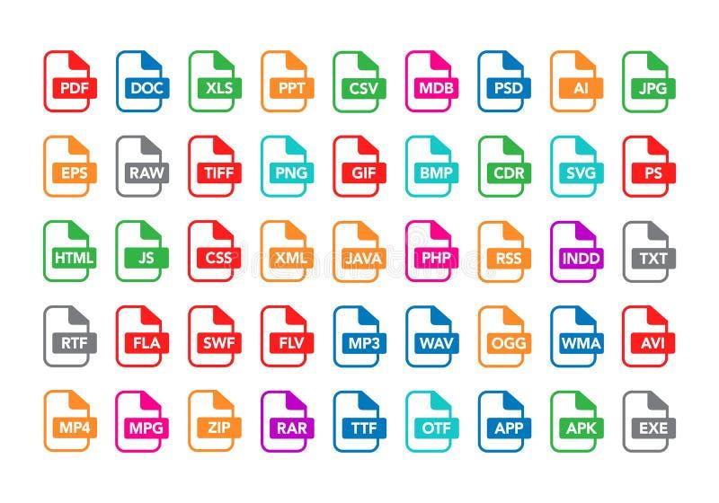 Ensemble d'illustration de vecteur de labels de document d'ountline et d'icônes plats colorés de formats de types de fichier PDF, illustration stock