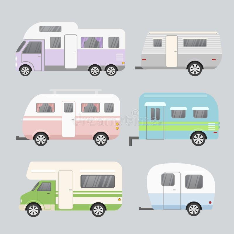 Ensemble d'illustration de vecteur de remorques de camping Concept de caravane résidentielle de voyage d'isolement sur le fond gr illustration stock