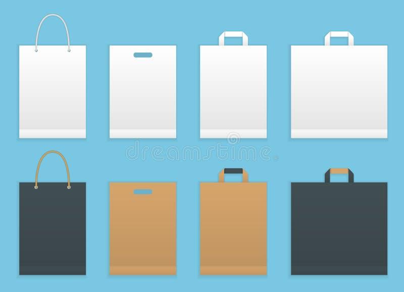 Ensemble d'illustration de vecteur de six sacs de papier d'achats ou d'épicerie Empaquetage de papier de paniers illustration libre de droits