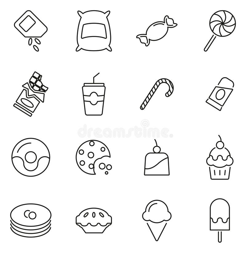 Ensemble d'illustration de vecteur de sucre ou de Sugar Food Icons Thin Line illustration libre de droits