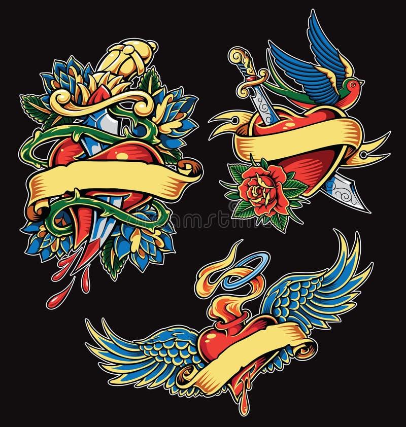 Ensemble d'illustration de vecteur de tatouage de coeur de valentines illustration de vecteur