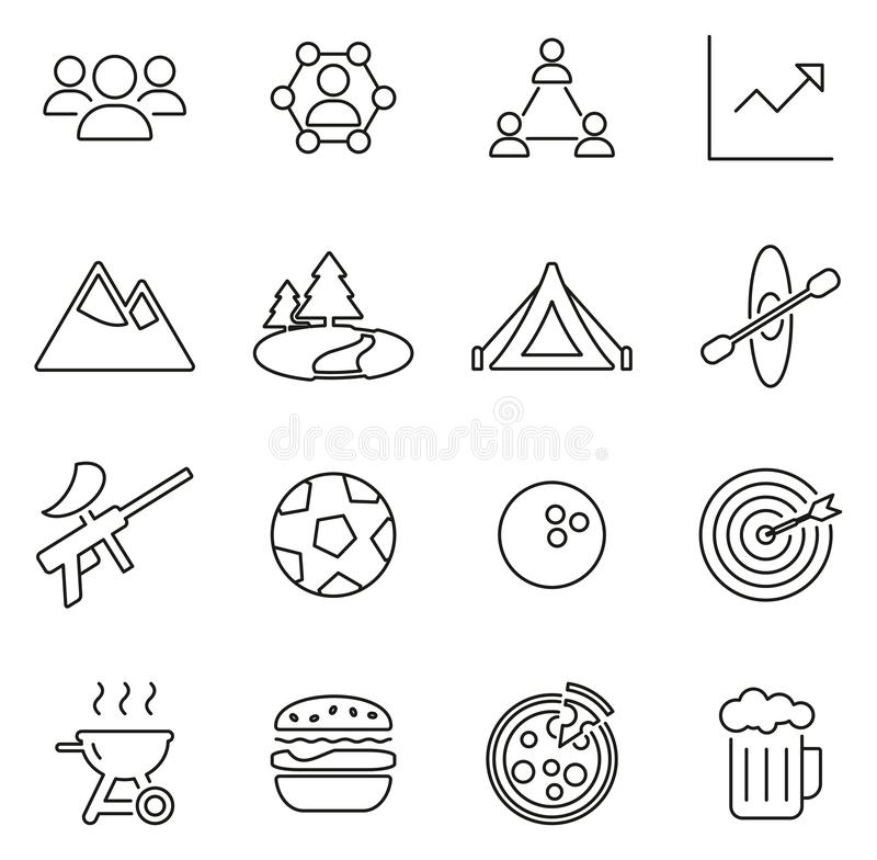 Ensemble d'illustration de vecteur de Team Building Icons Thin Line illustration libre de droits